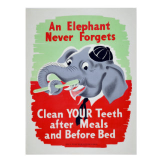 Poster Brosse vintage de dentiste d'éléphant vos dents