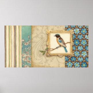 Poster Brown et oiseau bleu sur une branche recherchant