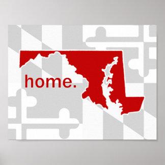Poster Bruit de drapeau/état du Maryland de couleur -