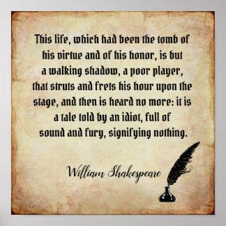 Poster Bruit et fureur - copie de citation de Shakespeare