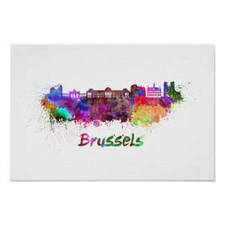 Poster Bruxelles skyline in watercolor