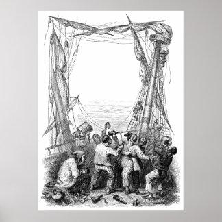 Poster Buccaneers vintages et un bateau de pirate