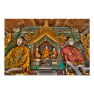 Poster Buddhas dans un temple