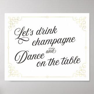 Poster Buvons le champagne et la danse sur l'affiche de