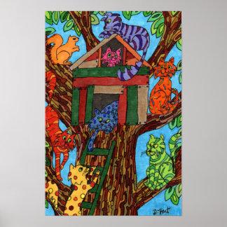 Poster Cabane dans un arbre de chat