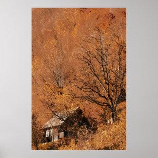 Poster Cabine à distance de montagne dans la flamme