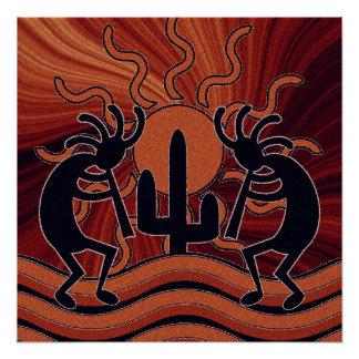 Poster Cactus Kokopelli de Sun de désert du sud-ouest