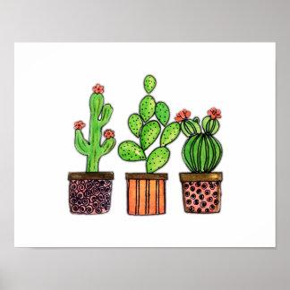 Poster Cactus mignon d'aquarelle dans des pots