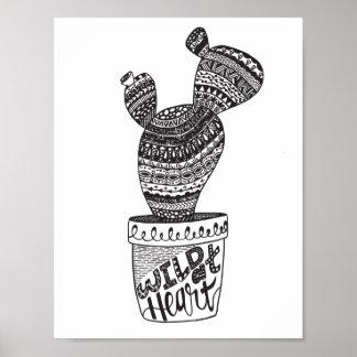Poster Cactus - sauvage au coeur - affiche d'impression