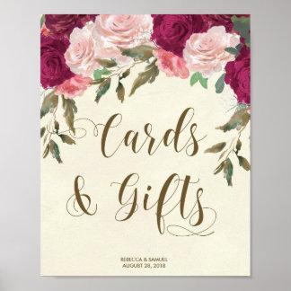 Poster Cadeaux de cartes épousant floral rose en ivoire