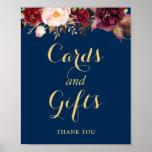 Poster Cadeaux de cartes épousant le bleu marine floral