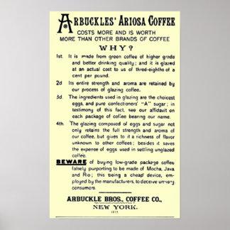 "Poster ""CAFÉ d'ARIOSA de la Cru-annonce ARBUCKLES """