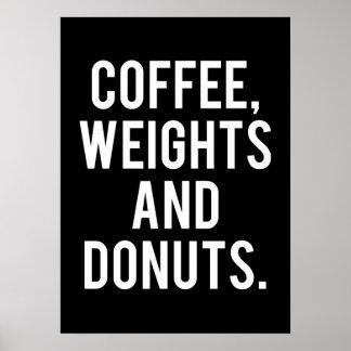 Poster Café, poids et butées toriques - gymnase drôle de
