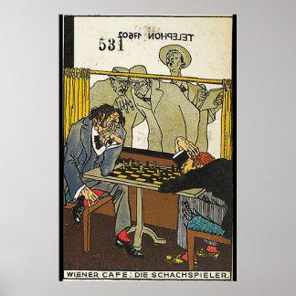 Poster Café viennois : Les joueurs d'échecs (saucisse
