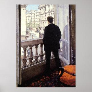 Poster Caillebotte - jeune homme à sa fenêtre