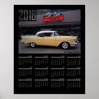 Poster Calendrier 1957 classique de la voiture 2018 de
