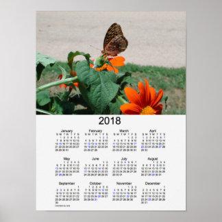 Poster Calendrier 2018 de vacances de papillon par