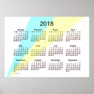 Poster Calendrier 2018 jaune cyan par l'affiche de Janz