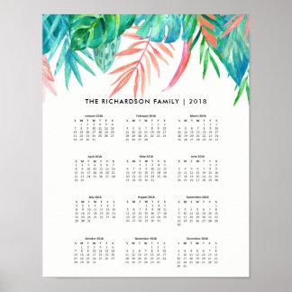 Poster Calendrier 2018 tropical à la mode de l'aquarelle
