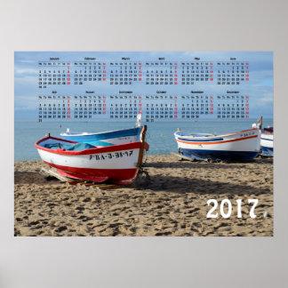 Poster calendrier de 2017 bateaux