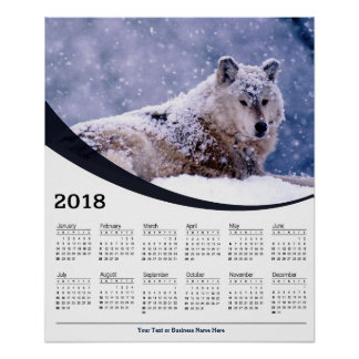 Poster Calendrier de repos d'affiche de faune de loup de