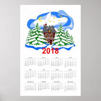 Poster Calendrier de salutation de la nouvelle année 2018