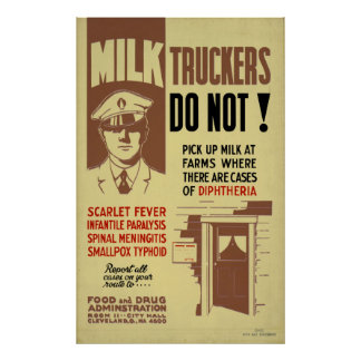 Poster Camionneur FDA de lait avertissant la santé 1940