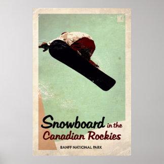 Poster Canadien les Rocheuses - effet vintage