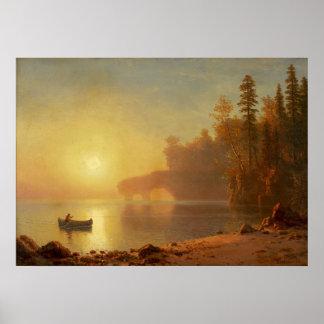 Poster Canoë indien par Albert Bierstadt