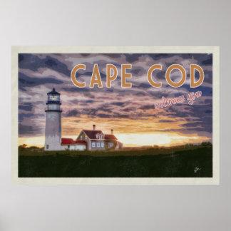 Poster Cape Cod vous accueille voyage vintage