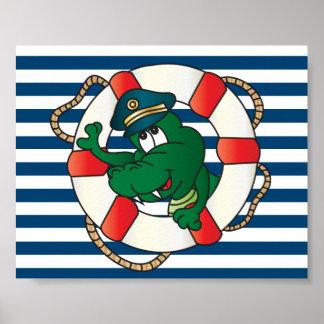 Poster Capitaine Alligator d'amusement
