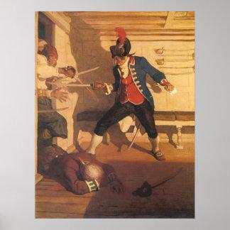 Poster Capitaine vintage de pirate, combat d'épée par OR