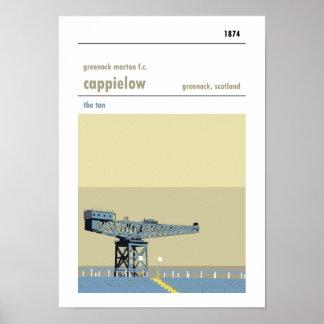 Poster Cappielow, Greenock. Copie manuelle de style de