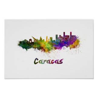 Poster Caracas skyline in watercolor