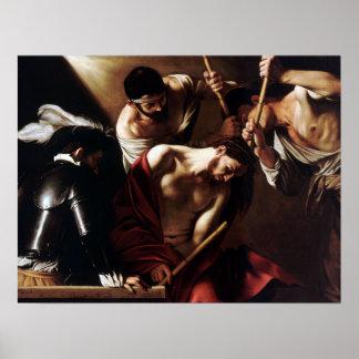 Poster Caravaggio le couronnement avec des épines