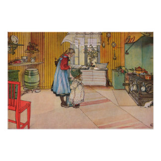Poster Carl Larsson la cuisine