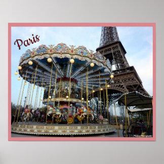 Poster Carrousel de Paris (et Tour Eiffel) avec le texte