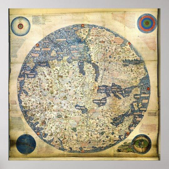 poster carte 1450 du monde par le moine v nitien atf. Black Bedroom Furniture Sets. Home Design Ideas