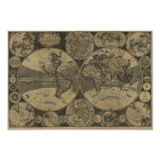poster carte 1702 vintage du monde d 39 antiquit par george. Black Bedroom Furniture Sets. Home Design Ideas