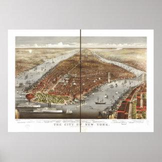 Poster Carte 1876 panoramique de vue d'oeil d'oiseaux de