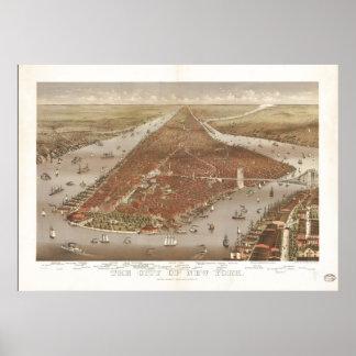 Poster Carte 1884 panoramique de vue d'oeil d'oiseaux de