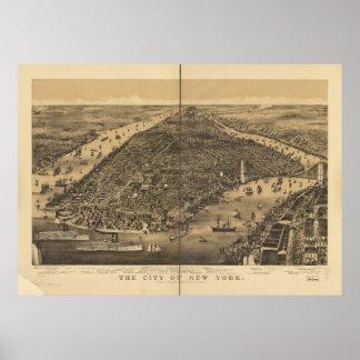 Poster Carte 1889 panoramique de vue d'oeil d'oiseaux de