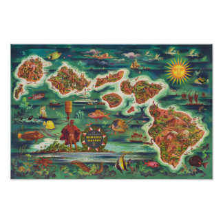 Poster Carte 1950 de Dole de peinture à l'huile d'Hawaï