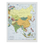 Poster Carte 2008 de l'Asie