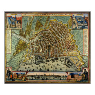 Poster Carte antique d'Amsterdam, Hollande aka Pays-Bas