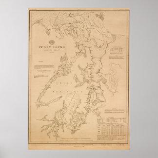 Poster Carte antique de Puget Sound