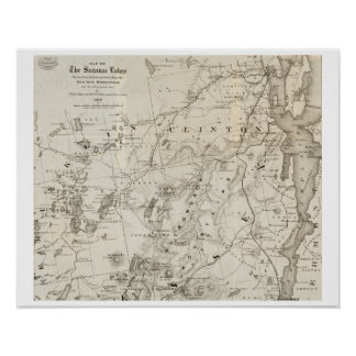 Poster Carte antique des lacs New York Saranac