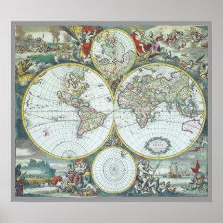 Poster Carte antique du 17ème siècle du monde, Frederick
