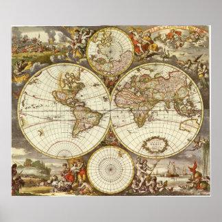 Poster Carte antique du monde, C. 1680. Par Frederick de
