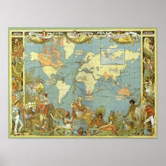 Poster Carte antique du monde de l'Empire Britannique,
